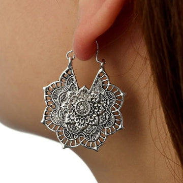 Boho Mandala Hoop Earrings Silver Mandala