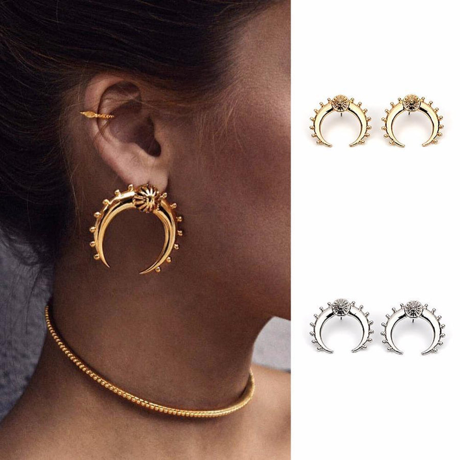 Divine Crescent Moon Earrings Gold