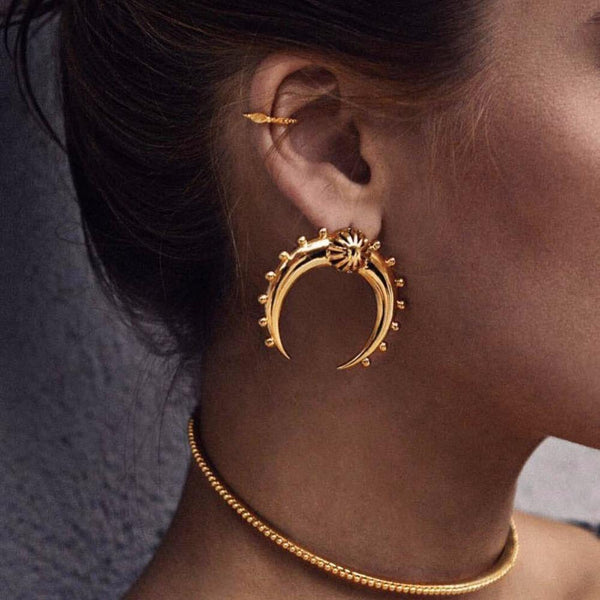 Divine Crescent Moon Earrings Boho Peak Gold