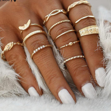 Gold Boho Ring Stack - 12 piece Set Gold Rings