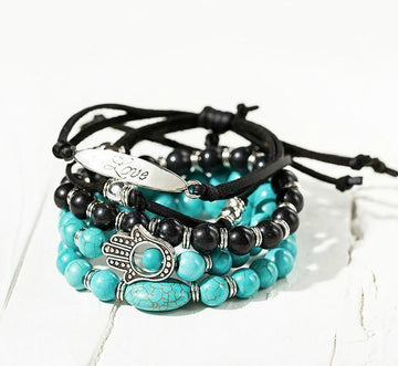 Gorgeous Boho Bracelet Stack - 5 Piece Set blue