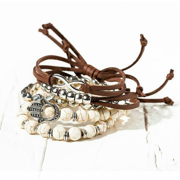 Gorgeous Boho Bracelet Stack - 5 Piece Set white