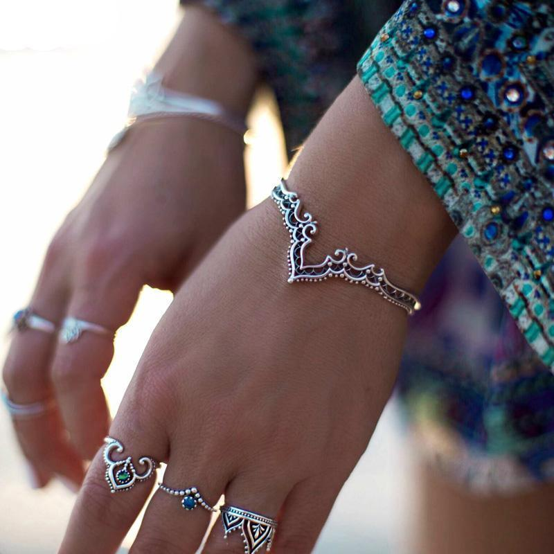 Handmade Bohemian Princess Bangle Silver