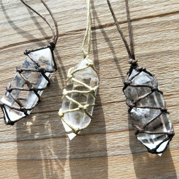Handmade Natural Crystal Point Necklace Boho Peak