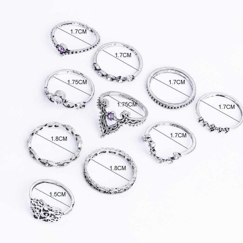 Iris Ring Stack - 10 Piece Set Rings Boho Peak