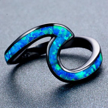 Ocean Blue Wave Rings 10 / Blue
