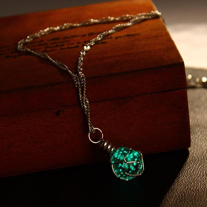 Oracle: The Luminous Crystal Ball Necklace Green Necklace