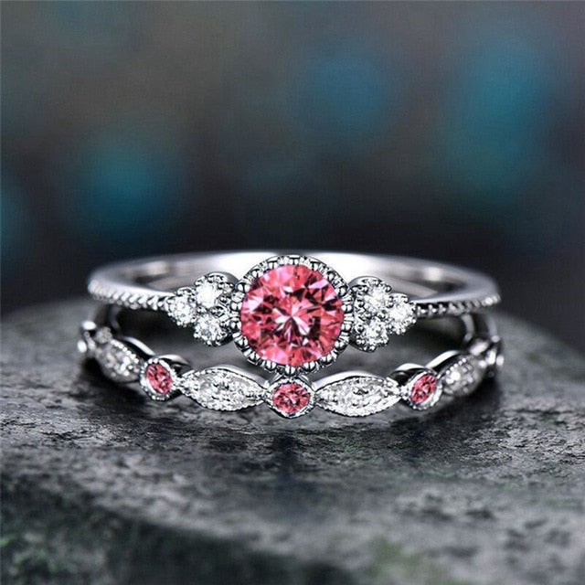 Elegant Crystal Ring Set