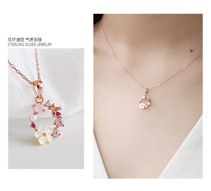 Butterfly Flowers Zircon Crystal Necklace