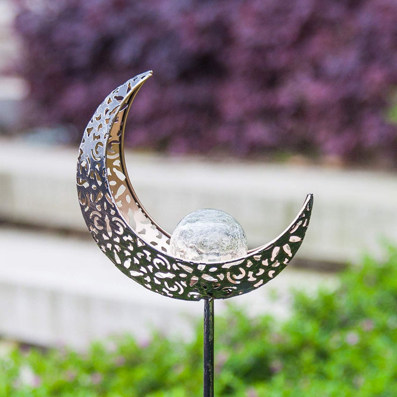 Solar Powered Crescent Moon Garden Light