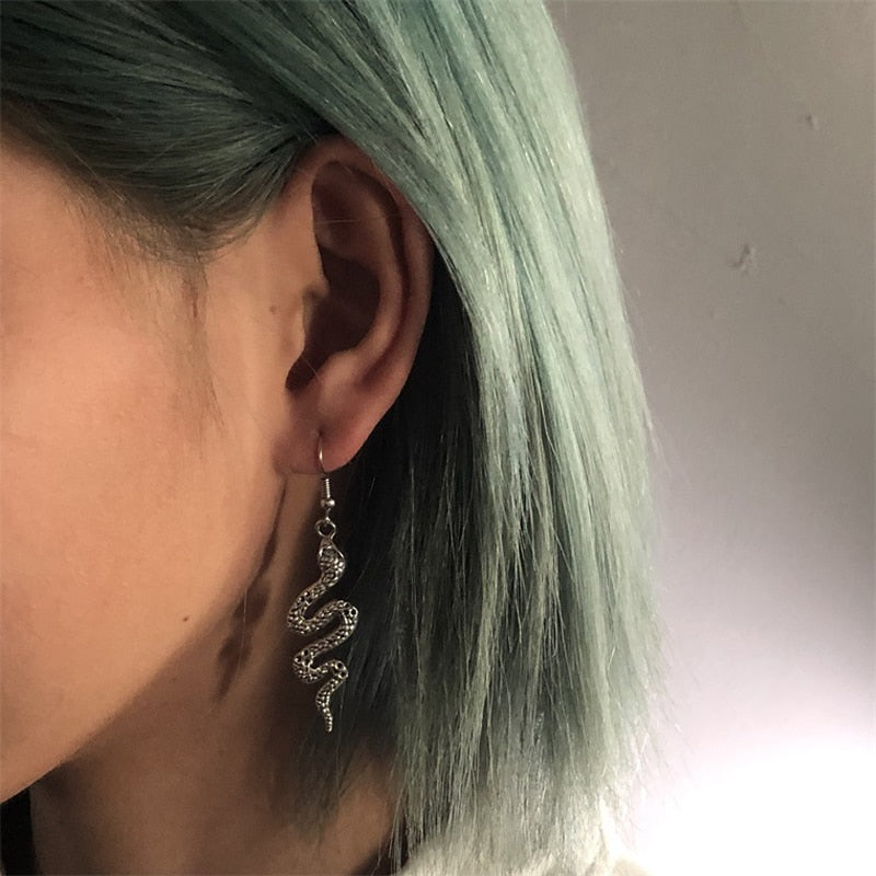 Silver Snake Dangle Earrings