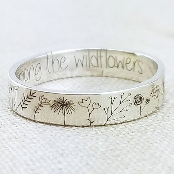 Wild Flowers Carved Ring