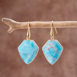 Protective Turquoise Shield Earrings