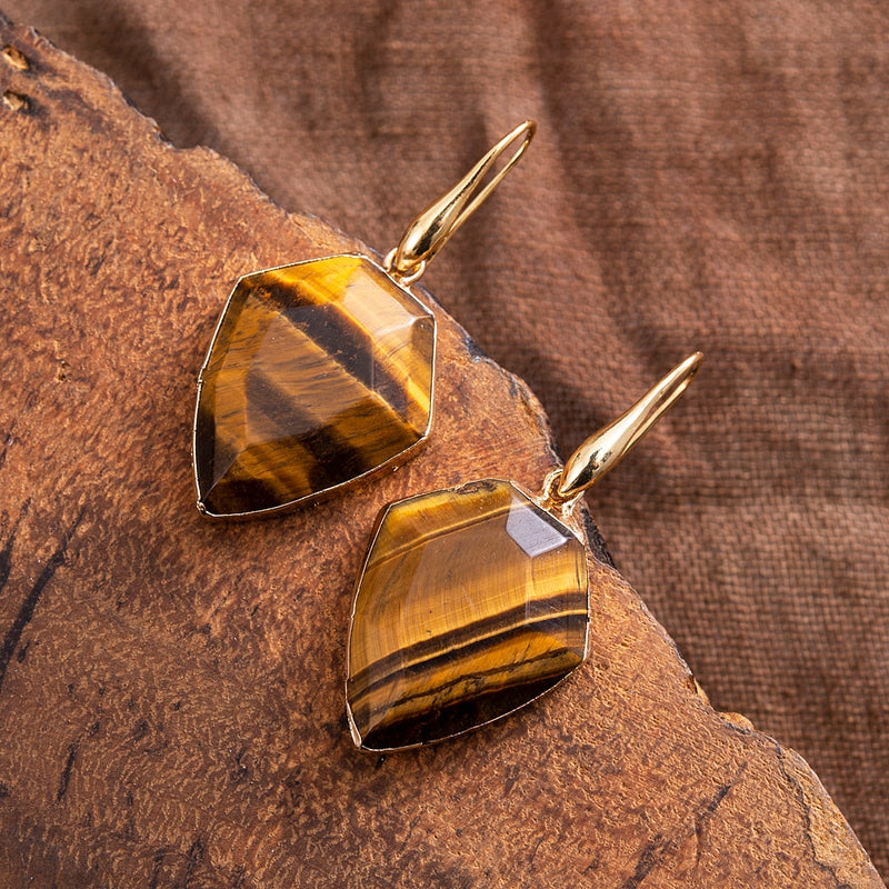 Protective Tiger-Eye Shield Earrings
