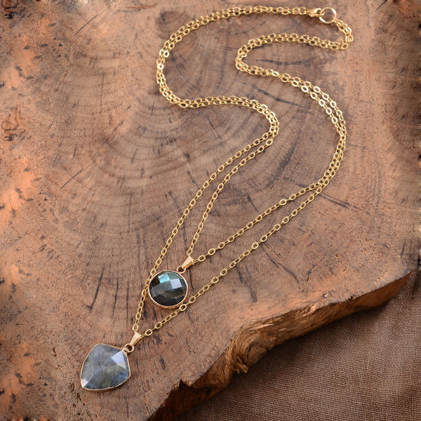 Labradorite Protection Shield Pendant Necklace