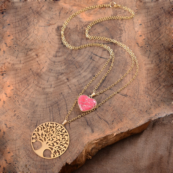 Tree of Life Heart Pendant Necklace
