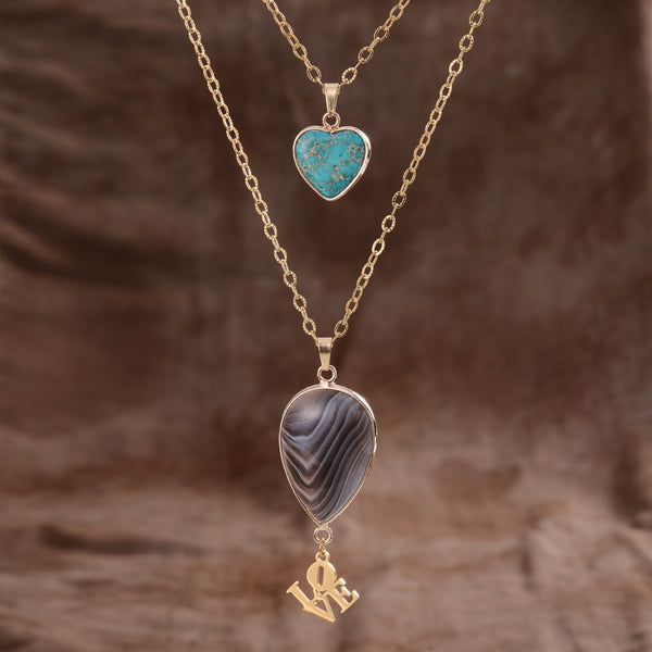 Persian Agate Teardrop Necklace