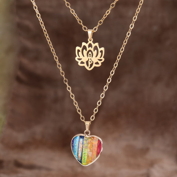 Chakra Heart Lotus Pendant Necklace