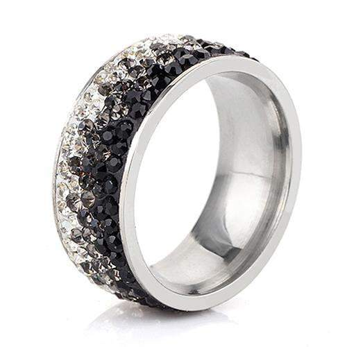Shimmering Sea Crystal Ring Boho Peak Black 5.5