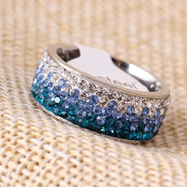 Shimmering Sea Crystal Ring Boho Peak