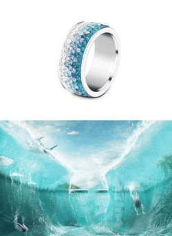 Shimmering Sea Crystal Ring Boho Peak Ocean Blue 5.5