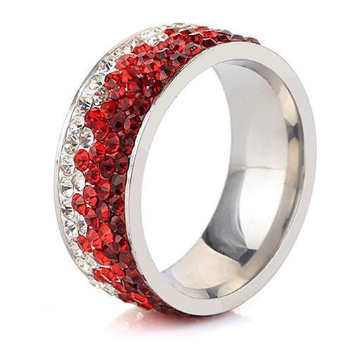 Shimmering Sea Crystal Ring Boho Peak Red 5.5