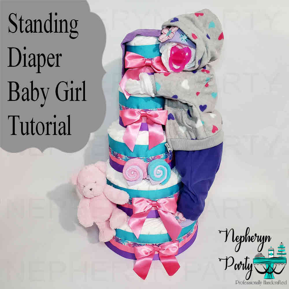 How to Make Standing Baby Girl Diaper Cake