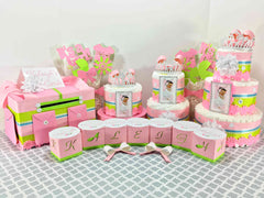 Pink and green baby shower decoration set