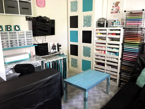 Teal and aqua craft room makeover