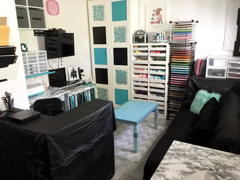 Aqua and teal craft room makeover