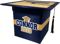 Navy and gold graduation party card box