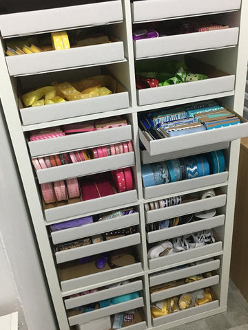 Ribbon storage using kalax shelf and cardboard trays