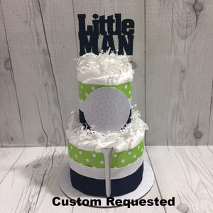 Navy & Green Golf Little Man Diaper Cake Centerpiece