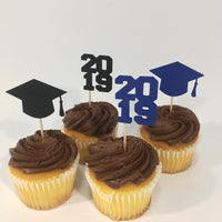 Blue & Black Graduation Cupcake Toppers
