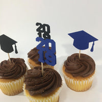 Graduation Cupcake Toppers - Blue, Black