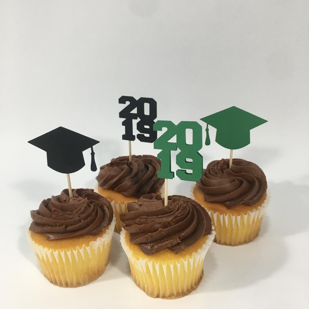 Graduation Cupcake Toppers - Green, Black