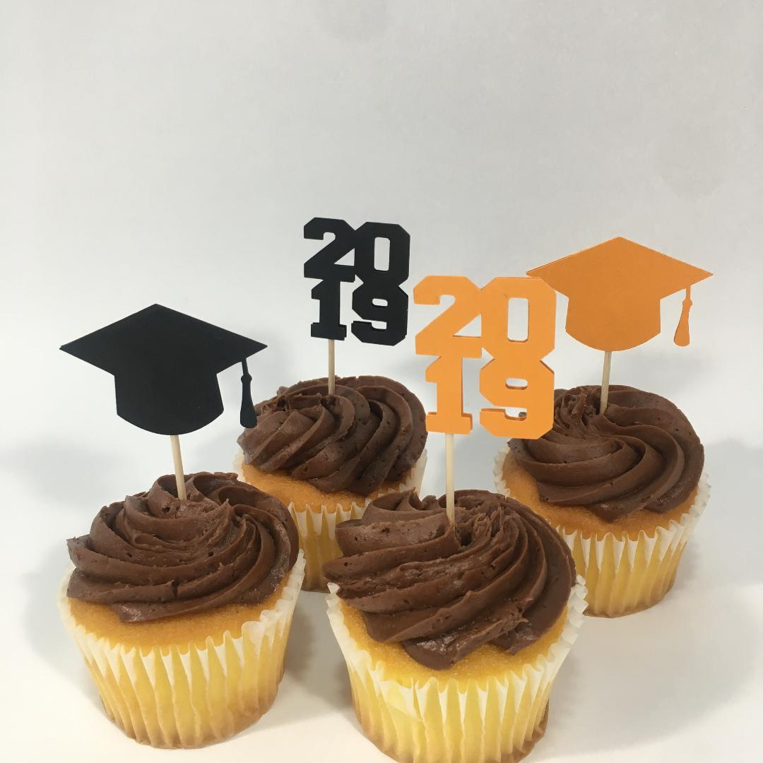 Graduation Cupcake Toppers - Orange, Black