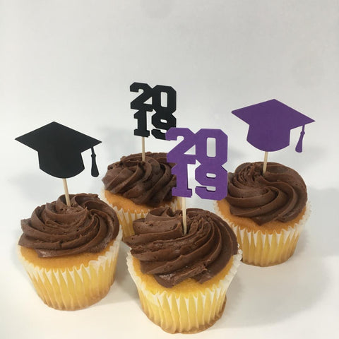 Graduation Cupcake Toppers - Purple, Black