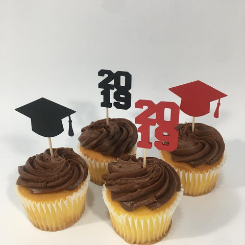 Graduation Cupcake Toppers - Red, Black