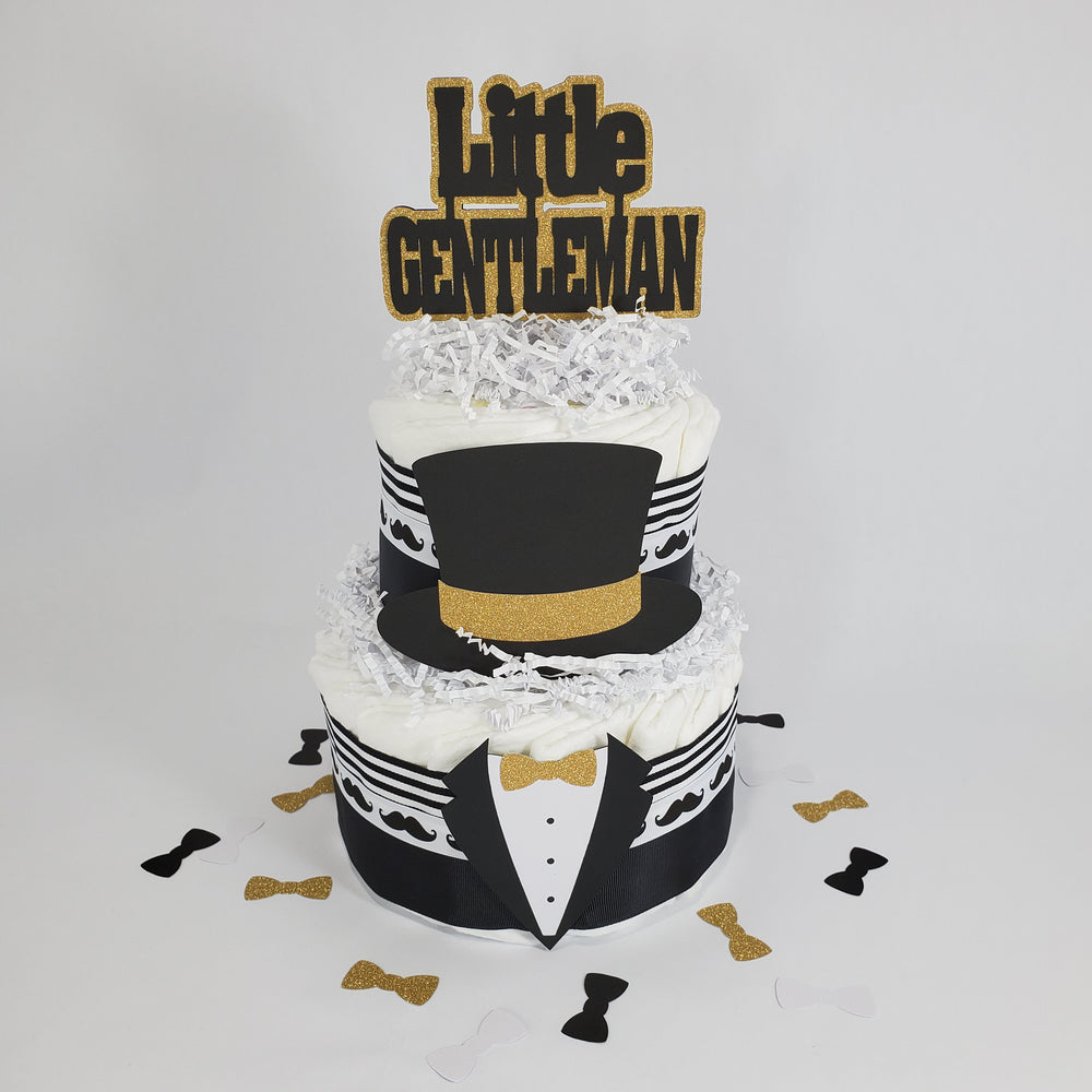 Black & Gold Little Gentleman Diaper Cake
