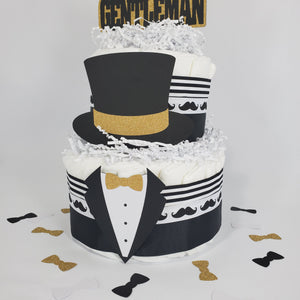 Little Gentleman 2-Tier Diaper Cake - Black. Gold
