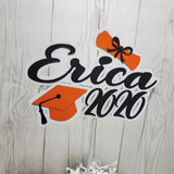 2020 Graduation Personalized Cake Topper - Orange, Black
