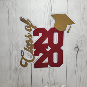 Maroon & Gold Graduation Cake Topper