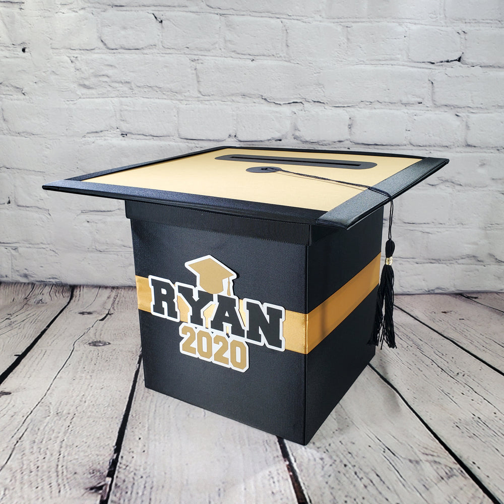 Black and Gold Graduation Card Box