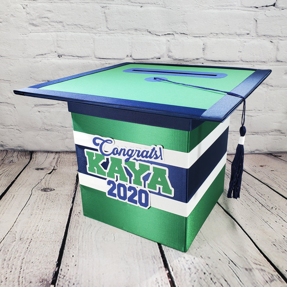 Navy and Green Graduation Card Box