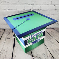 Graduation Cap Card Box - Green, Navy