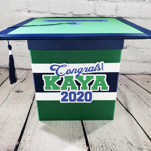 Navy & Green Graduation Card Box