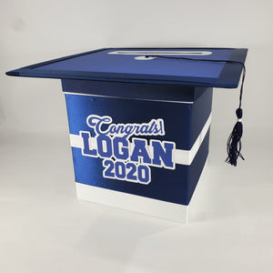 Navy and White Graduation Card Box