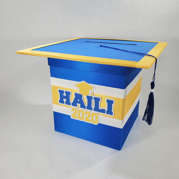 Blue and Yellow Graduation Card Box