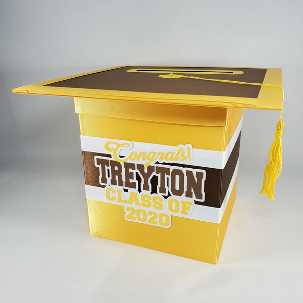 Yellow Gold & Brown Graduation Card Box